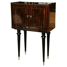 French Art Deco Period, Tall Exotic Macassar Ebony Bar / Cabinet