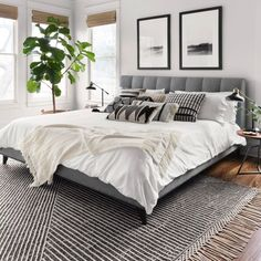 Home Interior Design Newton Charcoal/Ivory Area Rug - Magnolia Home by Joanna Gaines.Home Interior Design Newton Charcoal/Ivory Area Rug - Magnolia Home by Joanna Gaines Modern Master Bedroom, Master Bedroom Design, Home Decor Bedroom, Bedroom Rugs, Master Suite, Grey Wall Bedroom, Condo Bedroom, Ivory Bedroom, Black Bedroom Decor