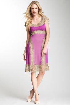 Alberta Ferretti Chiffon and Lace Detail Dress