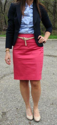 navy blazer, coral skirt