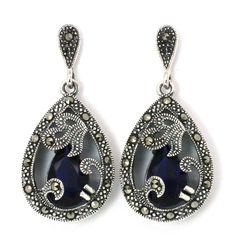 Sterling Silver Marcasite & Sapphire Blue CZ Earrings Vintage Style. $54.95