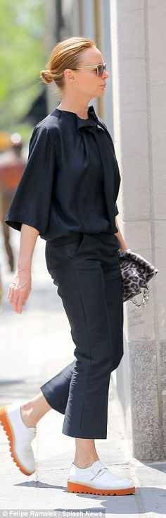 Stella McCartney looks effortlessly chic in airy black blouse in NYC #dailymail