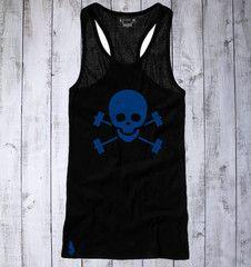 Skull & Barbells Active Tank - Black/Blue