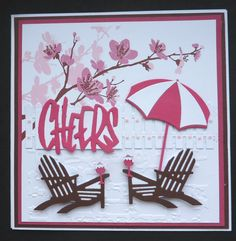 S228 Hand made Birthday card using IO Chair and Umbrella dies