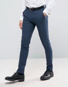 ASOS WEDDING Super Skinny Suit Pants in Petrol Blue