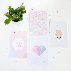 4 Pastel Postcards by PetiteMila on Etsy, €8.00