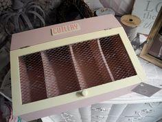 CUTLERY Besteckkasten Besteck Vintage alt Kiste Kasten Box Holz shabby chic rosa