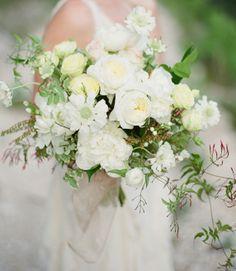 fragrant white garden rose, peony and jasmine bouquet