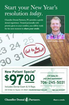 Start your New Year's resolution today.    Get to the dentist!    Chandler Dental Partners...   Chandler Dental Partners - Royston, GA #georgia #HartwellGA #shoplocal #localGA