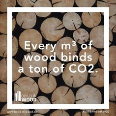 Instead of emitting CO2, wood sequesters it: One ton of CO2 per cubic meter of wood! Greenhouse Effect, Greenhouse Gases, Sustainable Building Materials, Timber Buildings, Lower Blood Pressure, Carbon Footprint, New Construction, Building Design, Europe