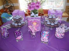 book...purplelicious!  purple ice cream! banner made with construction paper! Purple birthday party