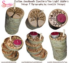 Handmade Coasters/Tea Light Holders 02 by snazzie-designz on DeviantArt Tea Coaster, Tree Designs, Tea Light Holder, Pyrography, Wood Burning, Tree Branches, Tea Lights, Coasters, Projects To Try