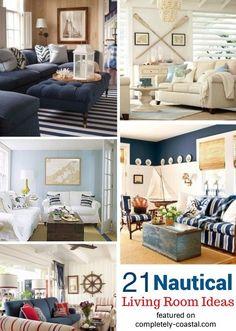 Attirant 21 Nautical Living Room Decor U0026 Interior Design Ideas