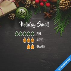 Holiday Smell – Essential Oil Diffuser Blend by lenora - All About Health Essential Oils Christmas, Fall Essential Oils, Essential Oil Diffuser Blends, Essential Oil Uses, Clove Essential Oil, Young Living Essential Oils, Velas Diy, Aromatherapy Oils, Aromatherapy Recipes
