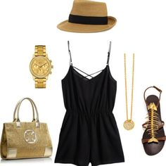 **** Get beautiful looks like this one today from Stitch Fix delivered right to your door! Obsessed  with this entire look!  Love the plain black romper paired with the black brimmed fedora and gold accessories! Especially the fish scale detail sandals!  WANT!!  Stitch Fix Spring, Stitch Fix Summer, Stitch Fix Fall 2016 2017. Stitch Fix Spring Summer Fall Fashion. #StitchFix #Affiliate #StitchFixInfluencer