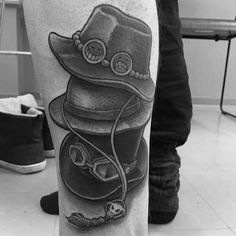 Side Of Leg Hats One Piece Male Tattoo