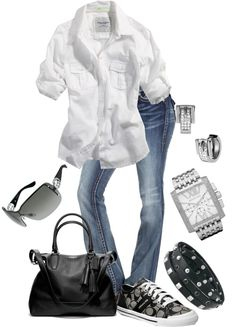 """White button down with sleeves rolled up, paired with denim jeans in a light wash. Add a pair of black & grey sneakers (Coach or Converse) and a black purse. Easy, simple, casual and still put together. (""""Untitled #96"""" by susanapereira on Polyvore)"""