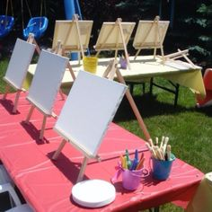 Setup for a Kids Paint Party with Art In Disguise 5th Birthday Party Ideas, Girl Birthday Themes, Art Birthday, July Birthday, Kids Art Party, Birthday Painting, Turtle Party, Paint Party, Party Planning
