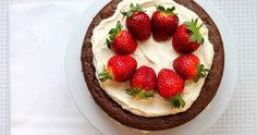 Keto Chocolate Sponge Cake with Strawberries and Cream