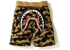 A Bathing Ape - Camo Shark Sweat Shorts yellow Short Outfits, Boy Outfits, Bape Shark, Victoria Secret Outfits, A Bathing Ape, Wardrobe Design, 20th Birthday, Birthday List, Camo