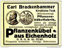 Original-Werbung/Anzeige 1914 - PFLANZENKÜBEL AUS EICHENHOLZ / CARL BRACKENHAMMER - KIRCHHEIM-TECK - ca. 55 x…