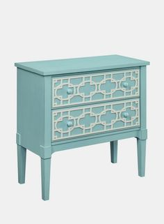 Light Blue Two Drawer Cabinet