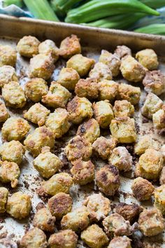 Baked Fried Okra is a healthier way to enjoy southern fried okra but it still has a delicious crispy coating. Super easy to make too with hardly any clean-up! Vegetarian Barbecue, Barbecue Recipes, Vegetarian Cooking, Easy Cooking, Vegetarian Recipes, Cooking Recipes, Italian Cooking, Oven Recipes, Cooking Tips