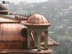 Ялта 1_mini Copper Work, Copper Metal, Corrugated Roofing, Copper Kitchen, Roof Design, Metal Roof, Modern Architecture, Taj Mahal, Gazebo