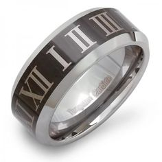 Share for $20 off your purchase of $100 or more! Tungsten Carbide Men's Ring Wedding Band 8MM (5/16 inch) Beveled Edges Shiny Center Black Enamel Plated Engraved Polished Comfort Fit (Available in Sizes 5 to 15) - Dazzling Rock #https://www.pinterest.com/dazzlingrock/