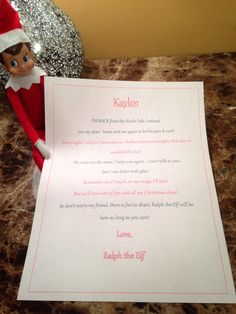 Elf on a shelf - first day back with personalized note to Kaylen <3