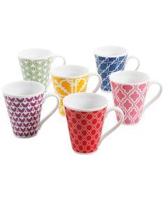 Clinton Kelly Effortless Table Set of Six Different Mugs   macys.com