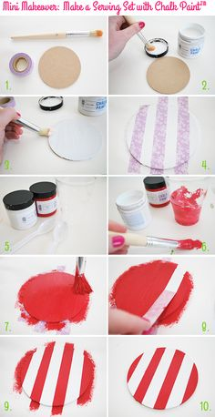 Mini Makeover: Make a Serving Set with Chalk Paint™ - Stripy Coasters on Style for a Happy Home // Click for DIY instructions
