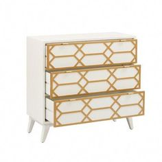 Modern and luxurious, the Madison Park Gabrielle Gold Lattice Accent Chest is a great addition to any room. With its gold lattice accent and sleek minimal design, this stylish chest will complement any contemporary décor. Three Drawer Dresser, 3 Drawer Chest, Chest Of Drawers, Wood Drawers, Large Drawers, White Chests, Accent Chest, Furniture Makeover, Furniture Storage