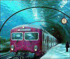 """Hoax: Shared as """"Underwater Train Route, Denmark"""" or """"Underwater Train In Venice"""" (when the image quality is bad enough to make """"Frederikssund"""" impossible to read), this is a photo manipulation using an old train from Copenhagen's urban rail network. Places Around The World, Oh The Places You'll Go, Places To Travel, Places To Visit, Around The Worlds, Travel Things, Travel Stuff, Travel Destinations, Wonderful Places"""