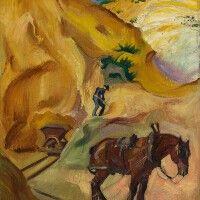 Barthel Gilles Arbeiter mit Pferd und Lore beim Tagebau