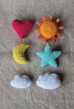 """knicromaniac: """" mostlyharmlessdesigns: """" Star, Heart, Sun, Moon, Big Cloud, Small Cloud by Anna Vozika Buy the pattern here! """" OH MY GOODNESS. """""""