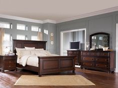 Master Bedroom Paint Colors with Dark Furniture Colour Schemes - Overview - walmartbytes Relaxing Master Bedroom, King Bedroom Sets, Bedroom Furniture Sets, Queen Bedroom, Bedroom Ideas, Bedroom Suites, Bedroom Decor, Mirrored Furniture, Outdoor Furniture