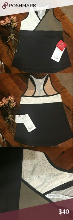 NWT LULULEMON DEEP V TANK ??PRICE FIRM?? up for sale is a very nice and 100% authentic Lululemon Deep V workout yoga tank top, wrap front, mesh racerback, built -in bra, nice 4 way stretch moisture-wicking Luon material, brown and beige in color. PRICE FIRM lululemon athletica Tops Tank Tops