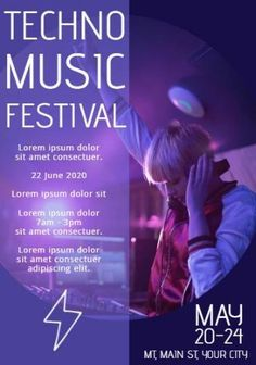 A creative music festival template. A purple background with image of DJ playing and written text displaying information on the techno music festival.