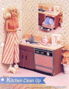 Kitchen Clean Up, Annie's plastic canvas patterns fit Barbie fashion dolls