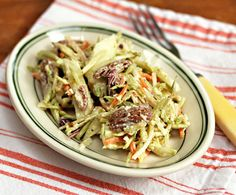 Recipe for curried apple and pecan broccoli slaw {vegetarian, gluten-free} {The Perfect Pantry}