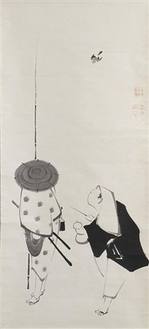 Untitled (A hachitataki wearing a haori jacket holding a gourd in his left hand and a stick in the other) (+ Untitled (Samuari wearing a kasa); pair) (diptych) by Ito Jakuchu