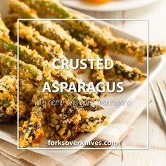 Herb-Crusted Asparagus Spears: hemp seeds, nooch, tamari, garlic