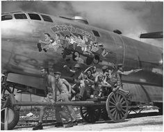 """Waddy's Wagon ... The crew of the USAAF Boeing B-29-40-BW Superfortress (s/n 42-24598) """"Waddy's Wagon"""", 20th Air Force, 73rd Bomb Wing, 497th Bomb Group, 869th Bomb Squadron. This aircraft was lost on 9 January 1945."""