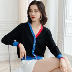 2019 Autumn Korean Style V-Neck Knitted Loose Sweater Long-Sleeve Single-Breasted Stripe Cardigan Female Plus Size Sweater