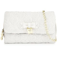 Betsey Johnson Always Be Mine Wallet-On-Chain (€32) ❤ liked on Polyvore featuring bags, handbags, purses, clutches, white, bow purse, white purse, flap handbags, quilted chain purse and chain handle handbags