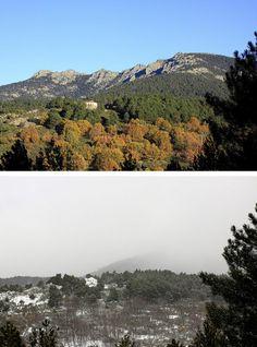Aniversario de la Sierra del Guadarrama Vista de una de las formaciones rocosas más populares de la sierra madrileña 'Siete picos' vista desde su vertiente madrileña. Arriba, imagen de noviembre de 2013, abajo, febrero de 2014.