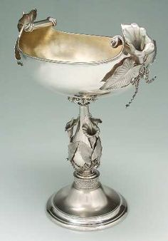 John R Wendtsterling silver centerpiece bowl with applied calla lily and leaf motifs, c1870 (Replacements)