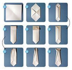 Step By Step - Origami Tie  great for a handmade card