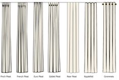 Type of Draperies:  Pinch Pleat | French Pleat | Euro Pleat | Goblet Pleat | Rear Pleat | Ripplefold | Grommets